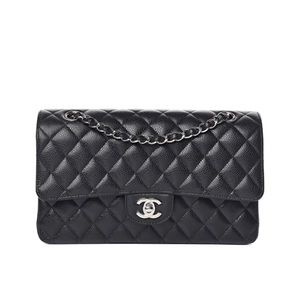 Authentic Chanel Medium Double Flap Bag Caviar SHW